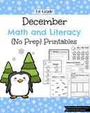 1st Grade math and Literacy Printables - December {No Prep}