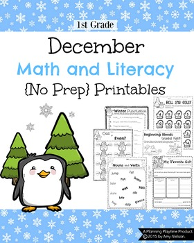 1st Grade math and Literacy Printables - December {No Prep}