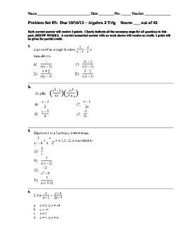 1st Half of Year Cumulative Assignments for Algebra 2/Trigonometry
