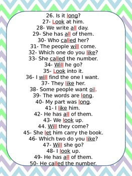 1st Hundred Fry Words 50 Quick L Sentence Drills