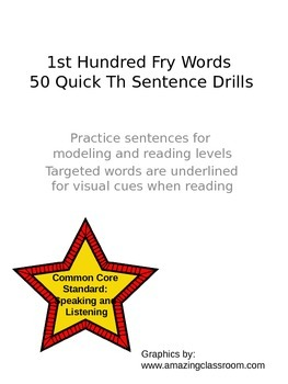 1st Hundred Fry Words 50 Quick Th Sentence Drills