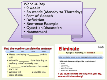 WORD A DAY 1st Nine Weeks Vocabulary, Parts of Speech, Reading Comprehension