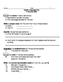 1st Quarter ELA Skills Assessment