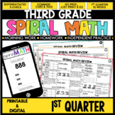 1st Quarter Spiral Math Review   3rd Grade Morning Work   Digital & Printable