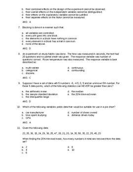 1st Semester AP Statistics Review (Examview)