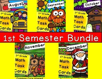 1st Semester Math Task Card Bundle 1st Grade