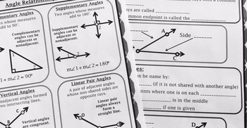 Geometry - 1st Semester Reference/Graphic Organizers Mini-Bundle