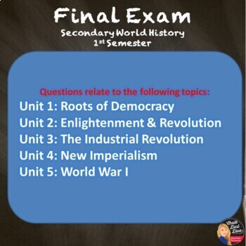 FINAL EXAM and Review GAMES for World History (First Semester)