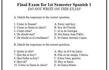 1st Semester Spanish 1 Final Exam