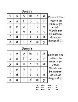 1st Sight Word Boggle-Beginner's Boggle