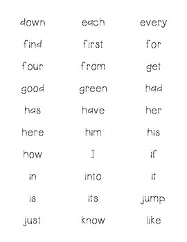 1st Sight Words on Labels
