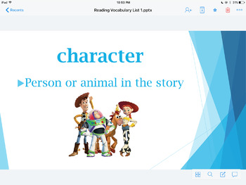 1st Week Reading Vocabulary Power Point