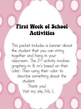 1st Week of School Activites