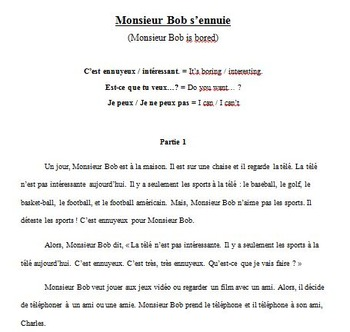 1st Year French Story & Activities: Monsieur Bob s'ennuie