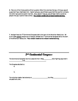 1st and 2nd Continental Congress graphic organizer