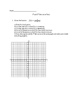1st and 2nd Derivative Quiz