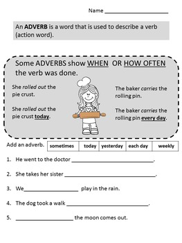 Adjectives  Adverbs No Prep Printable Worksheets 1st, 2nd