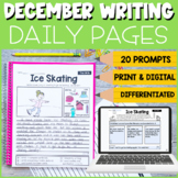 1st and 2nd Grade December Writing Prompts   Print and Digital