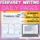 1st and 2nd Grade February Writing Prompts   Print and Digital
