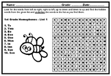 1st and 2nd Grade, Homophones, Word Search Puzzle Workshee