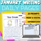 1st and 2nd Grade January Writing Prompts   Print and Digital