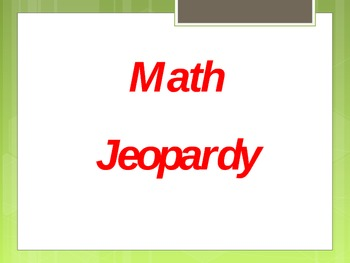 1st and 2nd Grade Math Jeopardy (-, +, $)