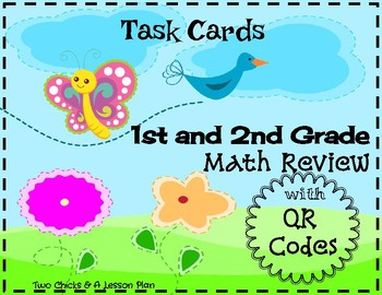 1st and 2nd Grade Math Review Cards with QR Codes