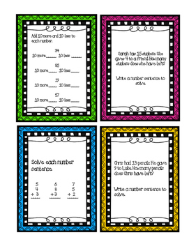 1st and 2nd Grade Math Review Task Cards
