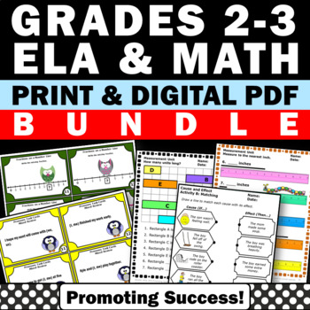 2nd and 3rd Grade Math and Literacy Activities BUNDLE Task Cards Worksheets