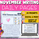 Thanksgiving Writing   1st & 2nd Grade November Writing Prompts