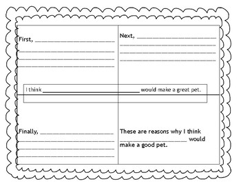 1st and 2nd Grade Opinion Writing Graphic Organizer - Writing workshop template