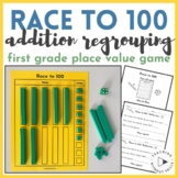 1st and 2nd Grade Place Value Regrouping Game Math Center- Race to 100