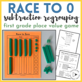 |1st & 2nd Grade| Race to 0 Place Value Subtraction Regrouping Game Math Center