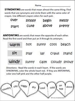 Synonym and Antonym Printable Worksheets 1st,2nd