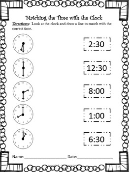 1st and 2nd Grade Telling Time Unit