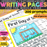 1st and 2nd Grade Writing Prompts Bundle   Halloween Thanksgiving Writing