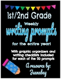 1st and 2nd Grade Writing Prompts with Graphic Organizers and Editing Checklists