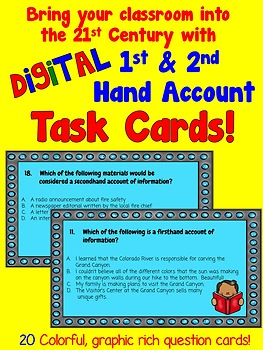 1st and 2nd Hand Account of Information Digital Task Cards (for Google Drive)
