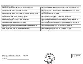 1st and 2nd grade Reader's Workshop Conference Notes