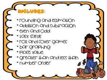 1st and 2nd grade fall math centers
