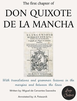 1st chapter of Don Quijote de la Mancha with English annotations & explanations