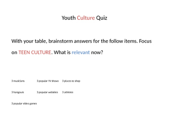1st day Introductionary activities/Youth Culture Quiz
