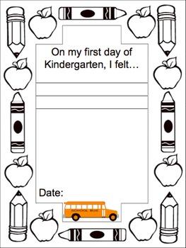 1st day of Kindergarten Journal