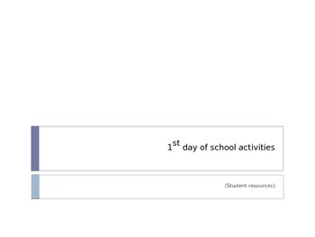 1st day of school activities (student resource)