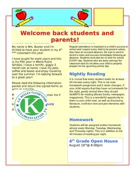 1st day of school letter to parents