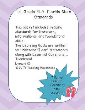 """1st gr. ELA- Marzano """"I can"""" Statements and Essential Qu's"""