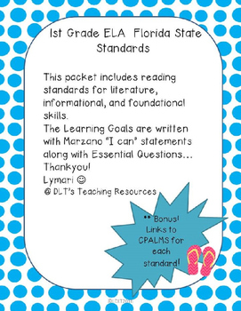 """1st gr. ELA- Marzano """"I can"""" Statements and Essential Qu's.- Dots"""