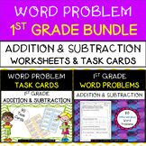 1st Grade Word Problems BUNDLE -  Addition & Subtraction Worksheets & Task Cards