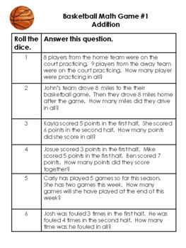 1st grade Addition and Subtraction Basketball Dice Games: Word Problem