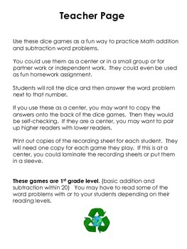 1st grade Addition and Subtraction Recycling Dice Games: Word Problems